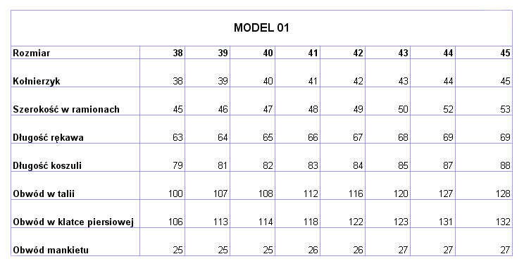 c129a9c85326ae Wymiary dla koszul klasycznych (M01, M03, M19)