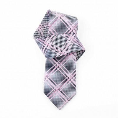 Jedwabny krawat popielaty w kratę Nº22