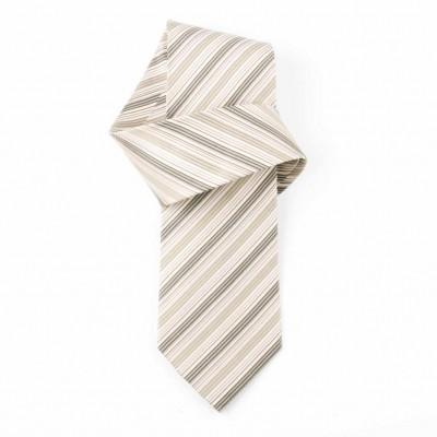Jedwabny krawat popielaty w paski Nº37