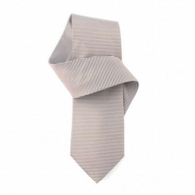 Jedwabny krawat popielato-wiśniowy w paski Nº42