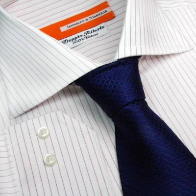 Koszula biała w bordowe paski Rigato Bordo M21 N° 252/2 Slim-Fit