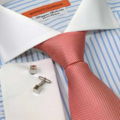 Koszula biała slim-fit w paski Rigato Bianco e Celeste M24 N° 235/1