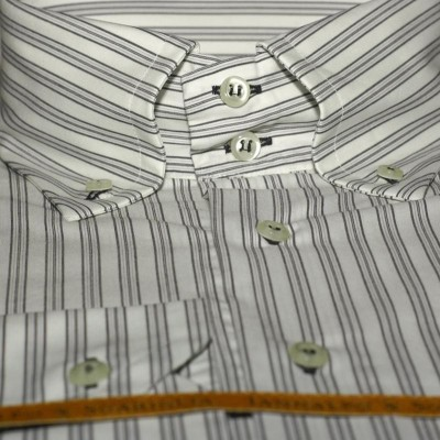Koszula biała w paski slim-fit M07 nr 5