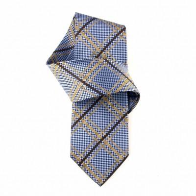 Jedwabny krawat niebieski w kratę Nº5