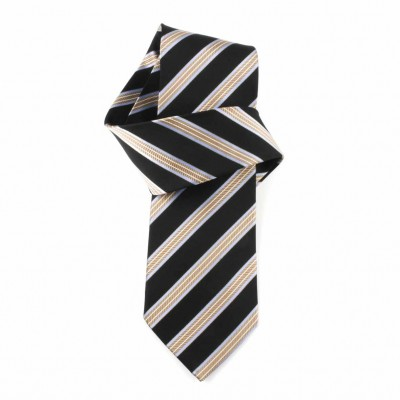 Jedwabny krawat czarny w paski Nº13