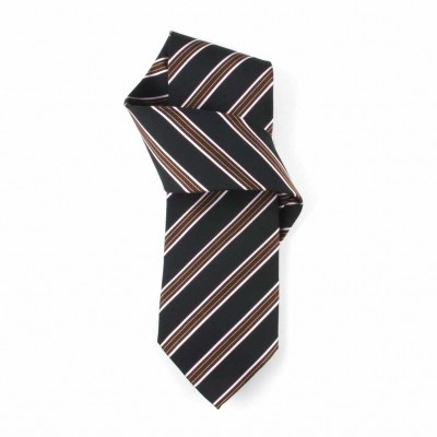 Jedwabny krawat brązowo-czarny w paski Nº14